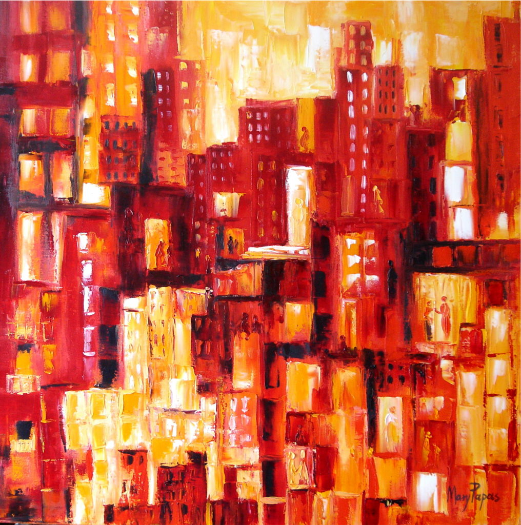 exuberant-city-life-palette-knife-textured-art-abstract-painting