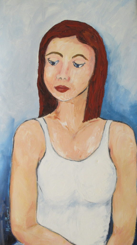 girl-thinking-bold-style-colour-palette-knife-textured-art-contemporary-painting