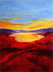 golden-lake-palette-knife-textured-art-painting-contemporary