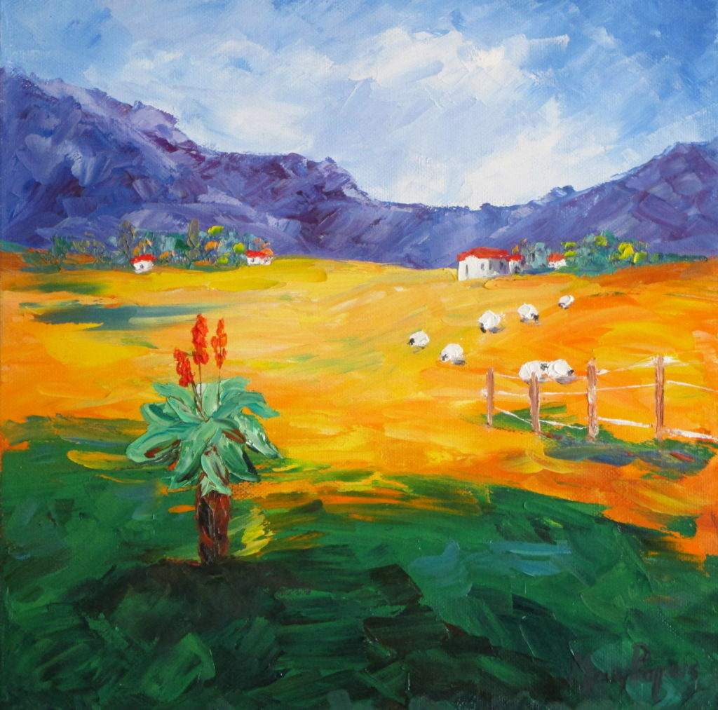 sheep-and-aloe-country-palette-knife-primary-colourful-textured-wild-landscape-country-art-painting